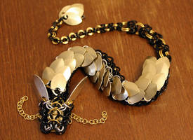 Golden Black Chainmaille Dragon by SilverHauntArmoury