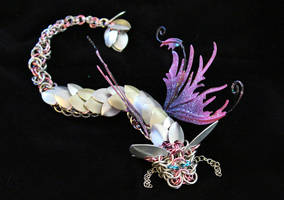 Rose and Silver Chainmaille Faerie Dragon by SilverHauntArmoury