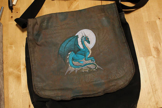 Teal Dragon Embroidered Bag by SilverHauntArmoury