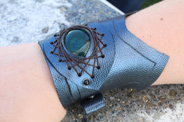 Blue Leather Dragon Eye Cuff Bracelet by SilverHauntArmoury
