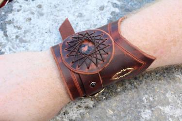 Deep Red Leather Inset Gem Cuff Bracelet by SilverHauntArmoury