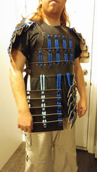Black and Blue Leather Samurai-Style Armour by SilverHauntArmoury