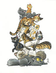 Pile of cats by ManueC