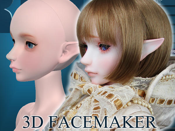 -3D FACEMAKER- 3D printed Face and Head 1/3 Scale by RMLBJD