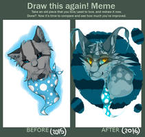 Finchwing headshot - Draw it again meme by koiffee