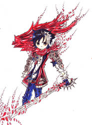 Art Trade- Sakura Knight Kaito by DeathScytheLio