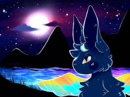starry lake // gift art by xrosecookie