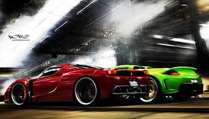 Ferrari Enzo Vs. Carrera GT by pont0