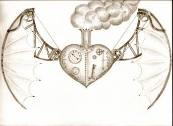 Steampunk flying heart by originalclosetnerd