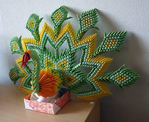Russian Peacock (3D Origami) by Denierim