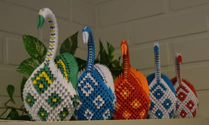 3D Origami Swan line by Denierim