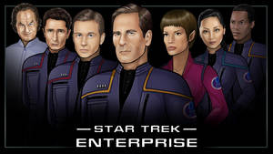 main crew  -  star trek enterprise by nightwing1975