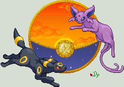Umbreon and Espeon by Dragonpika