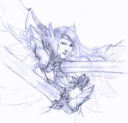 [Fairy Tail] Erza ' Titania ' Scarlet sketch by tachypnoe