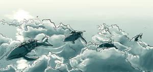 Whale caravan by howling-sowl