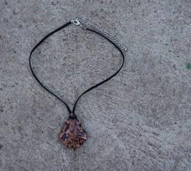 Pink n gold glass pendant by darkgarden