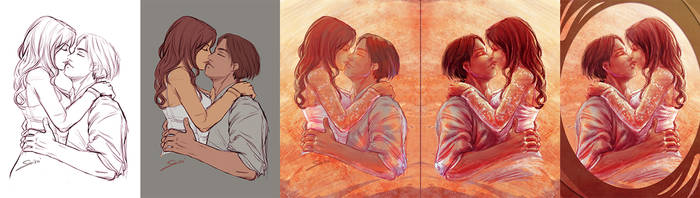 Process of the Valentine's Couple Illustration by yrialinsight