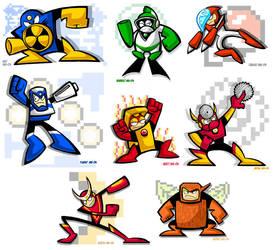 Mega Man 2's Eight Bosses by yooki42