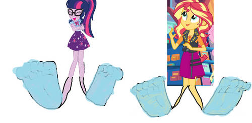 Sci-Twilight and Sunset Shimmer's Washed Up Soles by Jerrybonds1995