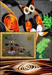 Owls quilling by BlackEyesSnowAngel
