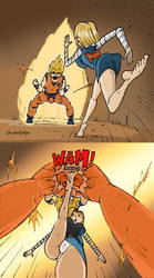 C-18 Vs Super Sayan Goku by chicken0chips