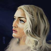 Blonde Girl against Dark Blue by artloadernet