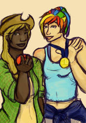 MLP:FiM Apple Jack and Rainbow Dash by KaliDonovan