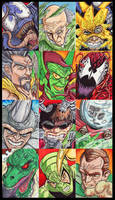 Spider-Man Villain Sketch Cards by KileyBeecher