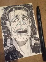 Frankenstein Sketch Card by KileyBeecher