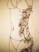 Dragon Mermaid Rib Tattoo by Samoubica