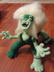 Posable Needle Felted Malachite Plush by feltgood