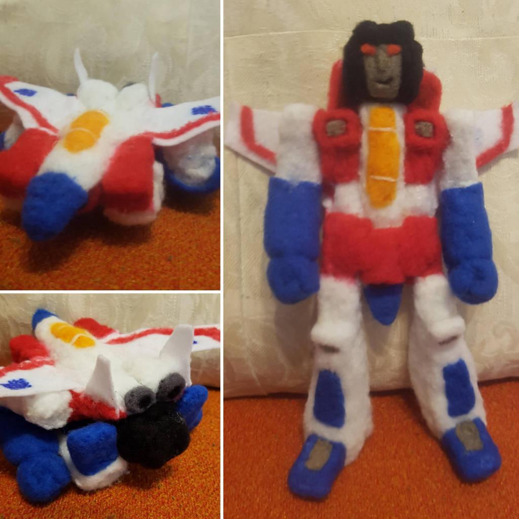 Transforming Starscream plush toy by feltgood