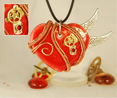 SteampunkWire Wrapped 'Winged Heart' Pendant by Henri-1