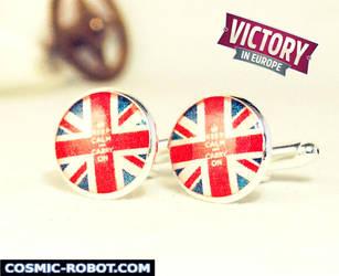 Handcrafted VE Day 'Union Jack' Cufflinks by Henri-1