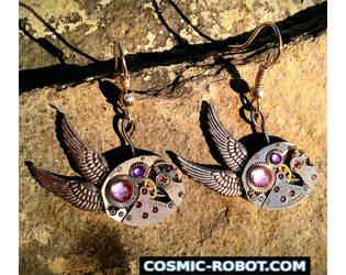 Steampunk Winged Earrings by Henri-1