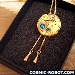 Elegant Golden Steampunk Necklace by Henri-1