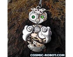 Steampunk Owl Pendant Necklace by Henri-1