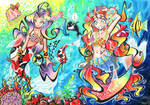 Two Mermaids - Coloured by hiru-miyamoto