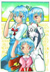 Rei Ayanami - Three Face by hiru-miyamoto