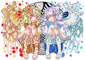 Sun Angel - Moon Angel by hiru-miyamoto