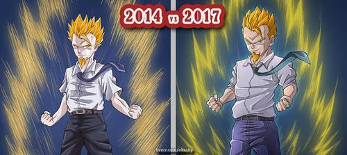 [Dragon Ball] draw this again 2014 vs 2017 by Okashy