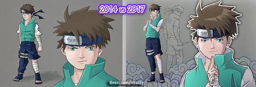[Naruto] draw this again 2014 vs 2017 by Okashy