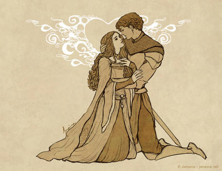 [Commission] Lancelot and Guinevere by JanainaArt
