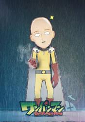 Caped Baldy - Saitama, OnePunch Man Fan Art by Vusiuz