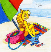 Angela goes to the beach by Sandy87