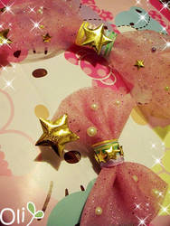 Fairy Kei Star Sparkle Bows by lemontreecrafts