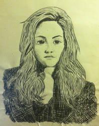 Kristen Stewart Pen and Ink Portrait by ganondumb