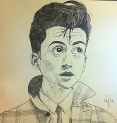 Alex Turner Pen and Ink Portrait by ganondumb