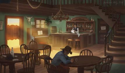 wild west tavern interior by Neskvik