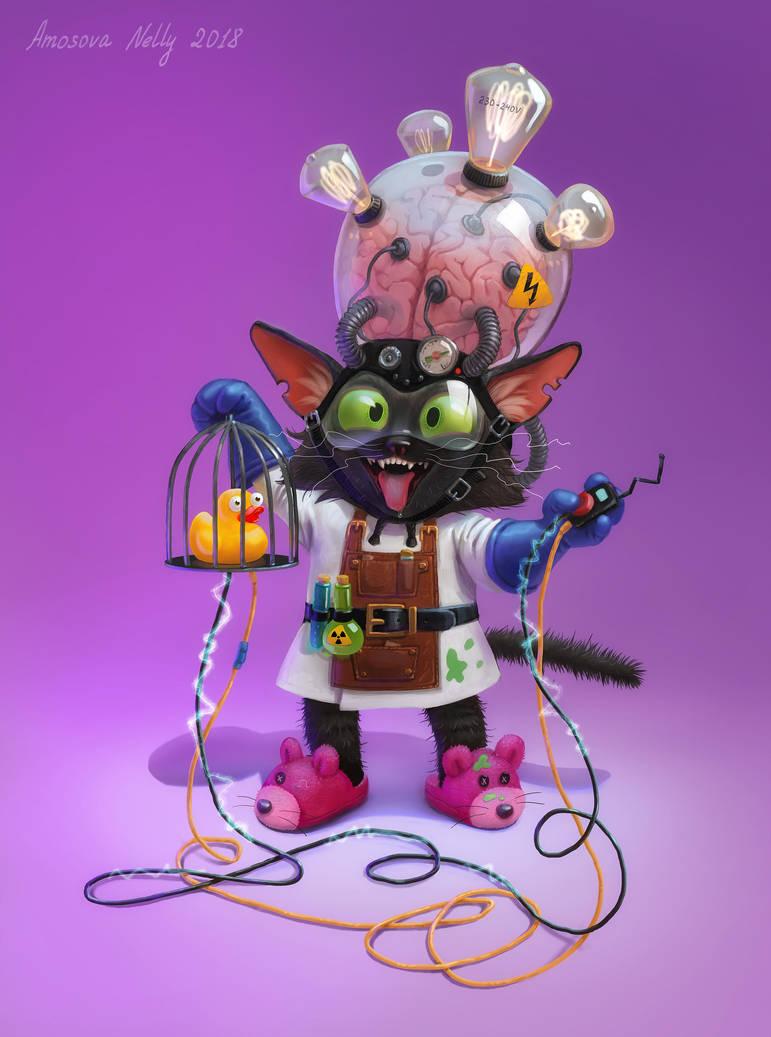 Mad cat scientist by Neskvik